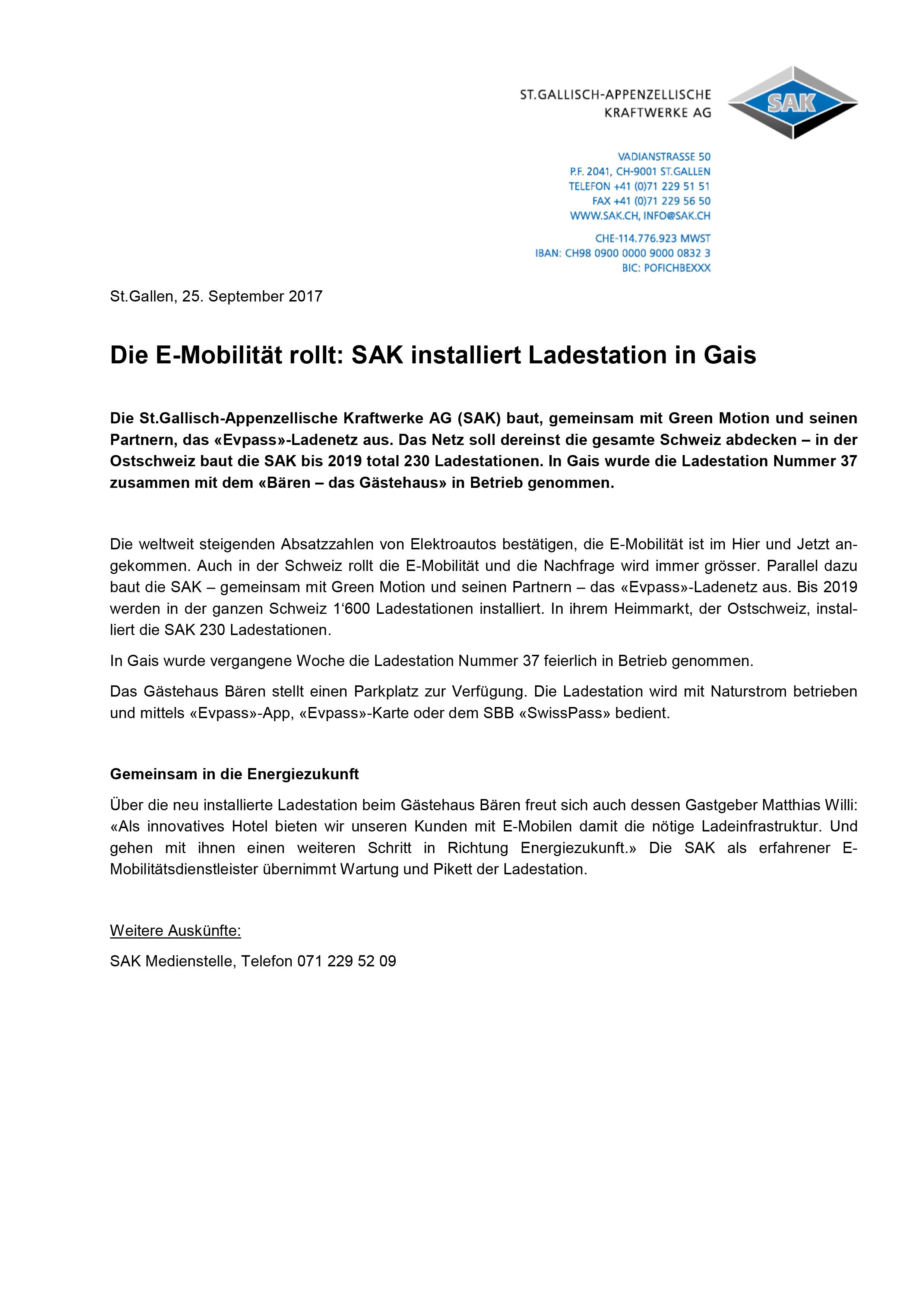 SAK Ladestation www.evpass.ch